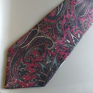 Mens Silk Tie paisley red green gold